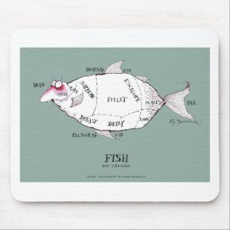 pescados de los cortes de los carniceros, mousepad