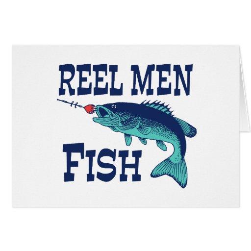 Pescados de los hombres del carrete tarjeta de felicitación