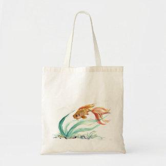Pescados de oro [goldfish] Sumi-e en color Bolsas Lienzo