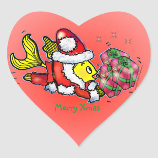 Pescados de Papá Noel - pegatina lindo divertido