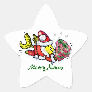 Pescados de Papá Noel - pegatinas lindos Pegatina En Forma De Estrella