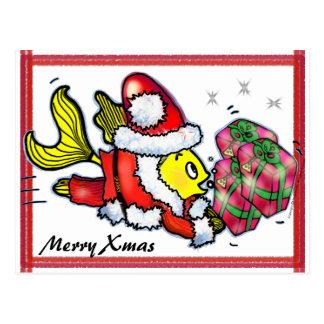 Pescados de Papá Noel - postal linda divertida del