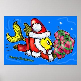 Pescados de Papá Noel - poster lindo divertido del