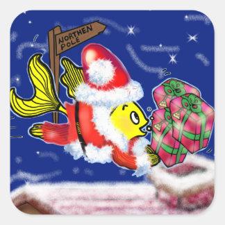 Pescados de Papá Noel - tebeos lindos divertidos Pegatina Cuadrada