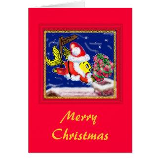 Pescados de Papá Noel - tebeos lindos divertidos Tarjeta De Felicitación