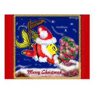 Pescados de Papá Noel - tebeos lindos divertidos Tarjeta Postal