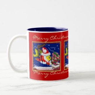 Pescados de Papá Noel - tebeos lindos divertidos Taza De Dos Tonos