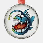 Pescados de pescador del dibujo animado ornamento de navidad