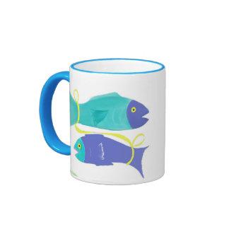 Pescados de Piscis Zodiaco-Coloridos Taza De Dos Colores