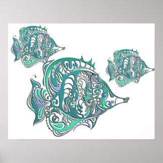 Pescados de Swirly de la fantasía del Aquamarine Posters