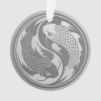 Pescados de Yin Yang Koi con efecto del acero inox