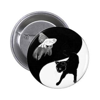 Pescados de YinYang y botón del gato Pin