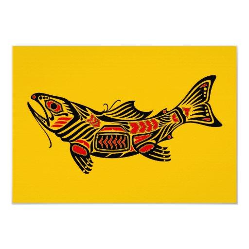 """Pescados del alcohol del Haida en amarillo Invitación 3.5"""" X 5"""""""