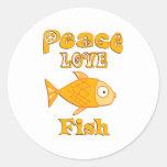 Pescados del amor de la paz etiqueta