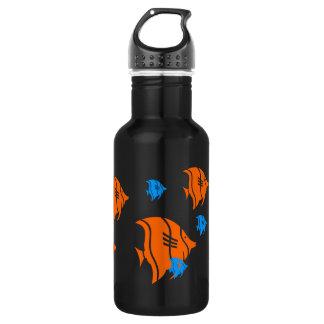 Pescados del ángel anaranjado y azul botella de agua de acero inoxidable