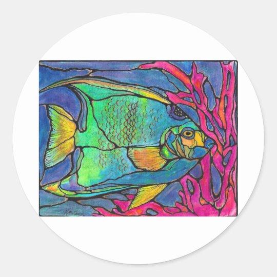 Pescados del ángel del vitral pegatina redonda