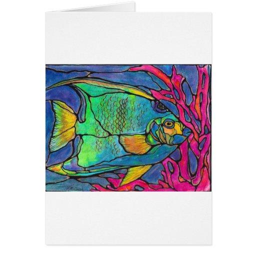 Pescados del ángel del vitral tarjeta