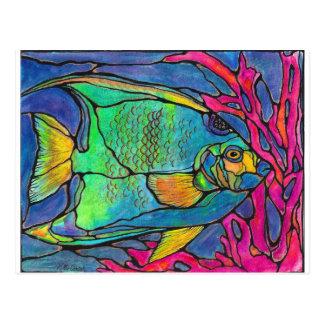Pescados del ángel del vitral postal