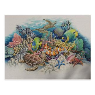 Pescados del arrecife de coral en sinfonía postales