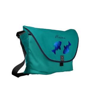 Pescados del azul de la astrología del zodiaco del bolsas messenger