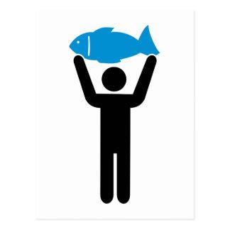 Pescados del azul del pescador tarjetas postales