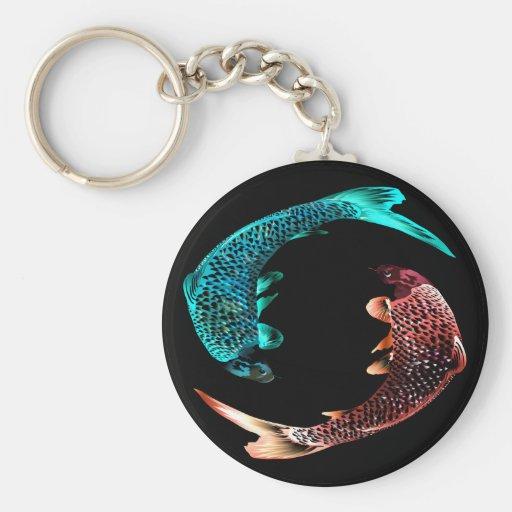 Pescados del azul y del oro llavero redondo tipo pin