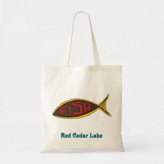 pescados del cedro rojo en pescados bolsas lienzo