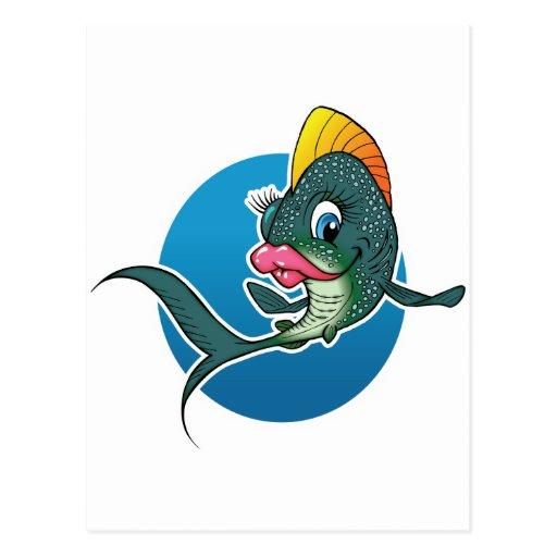 Pescados del chica del dibujo animado tarjetas postales