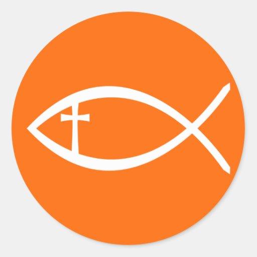 Pescados del cristiano de Ichthus Pegatina Redonda