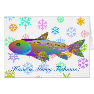 Pescados del día de fiesta y copos de nieve colori felicitaciones