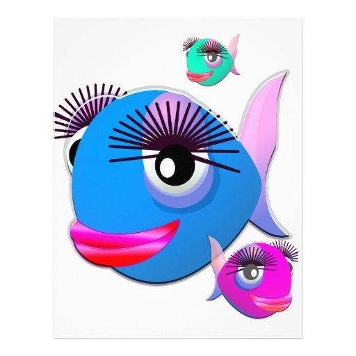 Pescados del dibujo animado con los labios y las p membrete a diseño