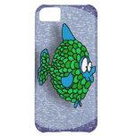 Pescados del dibujo animado del verde azul en azul