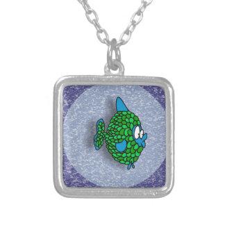 Pescados del dibujo animado del verde azul en azul pendiente personalizado