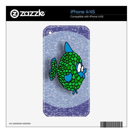 Pescados del dibujo animado del verde azul en azul iPhone 4 skins
