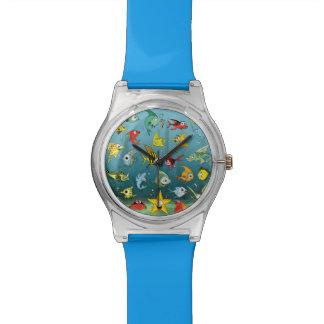 Pescados del dibujo animado subacuáticos relojes de pulsera