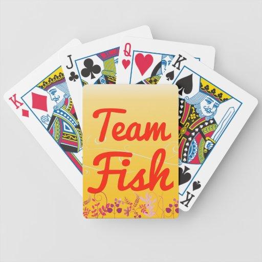 Pescados del equipo cartas de juego