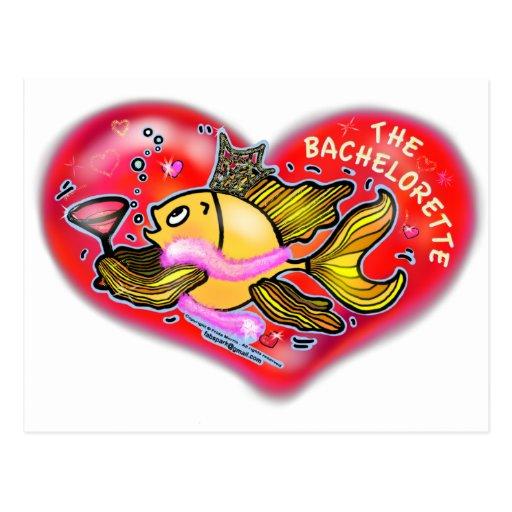 Pescados del fiesta de gallina de Bachelorette Tarjeta Postal