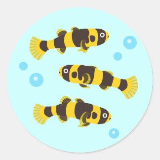 Pescados del gobio del abejorro pegatina redonda
