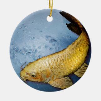 Pescados del koi de Japón Adorno Redondo De Cerámica
