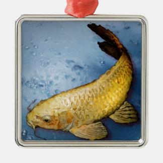 Pescados del koi de Japón Adorno Cuadrado Plateado