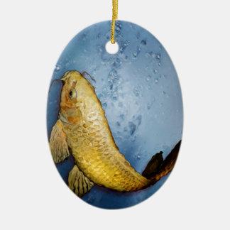 Pescados del koi de Japón Adorno Ovalado De Cerámica