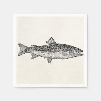 Pescados del lepisosteus del vintage - espacio en servilletas desechables