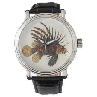 Pescados del Lionfish del vintage, animal marino Reloj