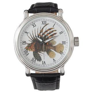 Pescados del Lionfish del vintage, animal marino Relojes De Mano