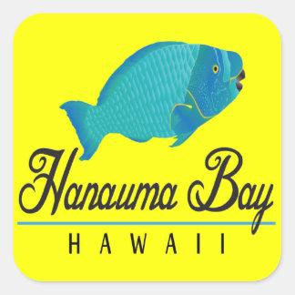 Pescados del loro de Hawaii de la bahía de Hanauma Pegatina Cuadrada