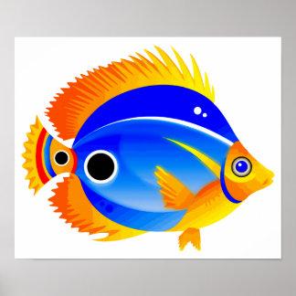 Pescados del lunar en azul y naranja póster