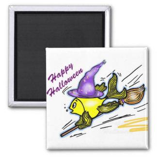Pescados del mago - dibujo lindo divertido imán cuadrado