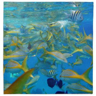 Pescados del océano servilletas imprimidas
