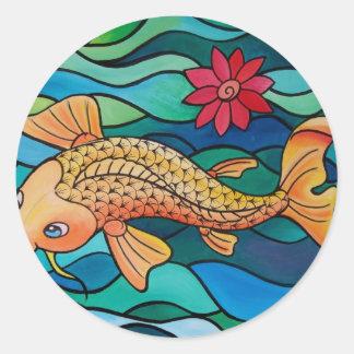 Pescados del oro/charca de Koi Pegatina Redonda