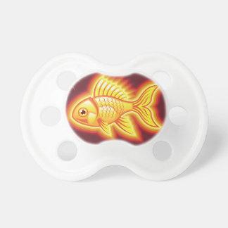 Pescados del oro del vector que brillan chupete de bebé